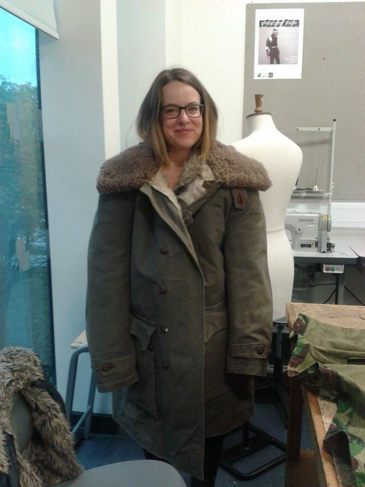 Ruth in Swiss army jacket