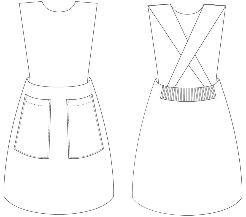 Pinafore dress rib back waist